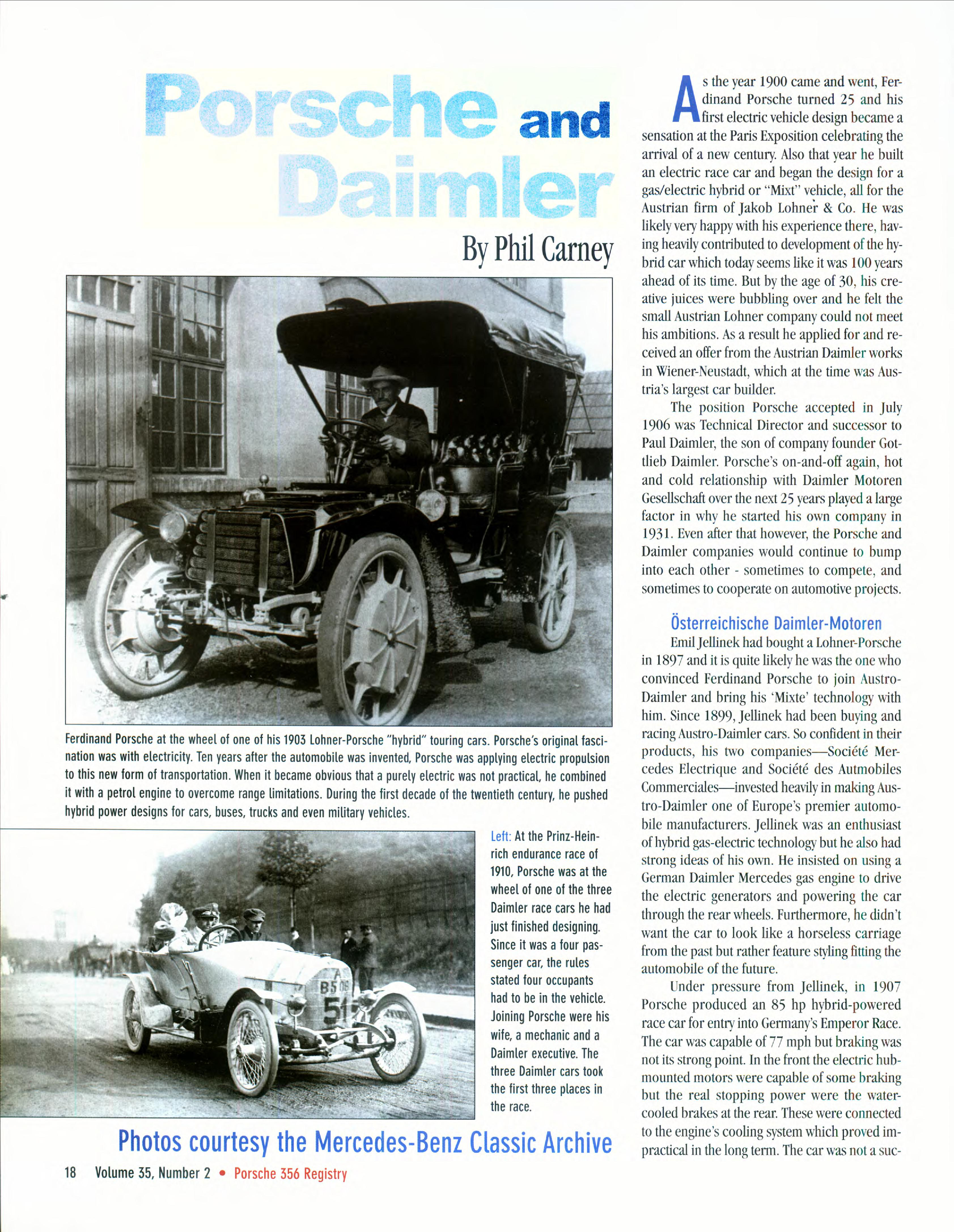 Ferdinand Porsche: 1900-1939 (Phil Carney, 356 Registry Mag , 2011