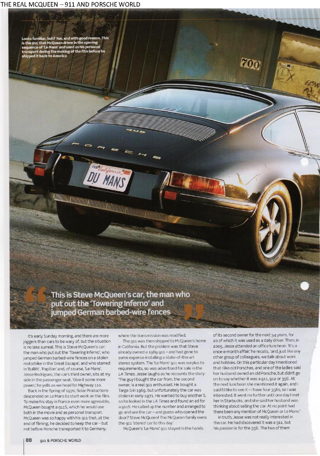 steve mcqueen s porsche 911s 1970 le mans movie car 911 porsche world mag porsche cars. Black Bedroom Furniture Sets. Home Design Ideas