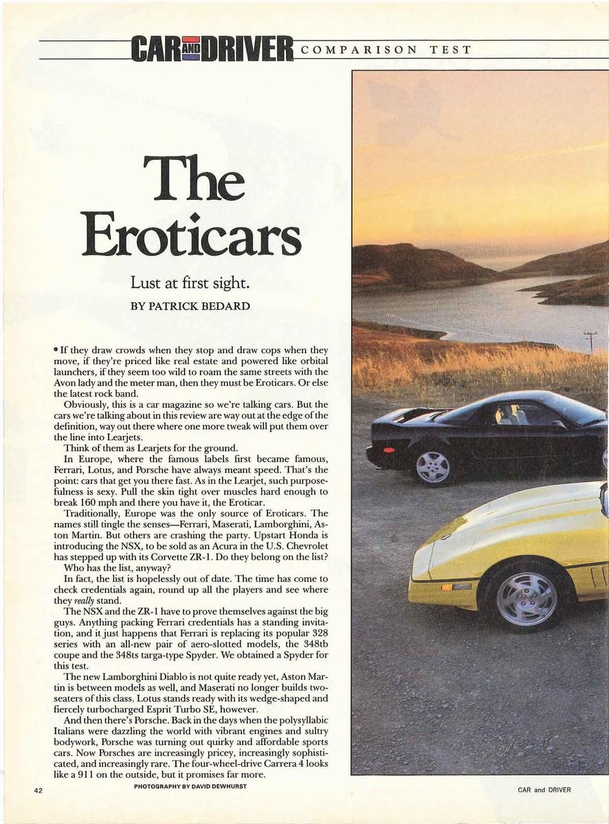 Porsche 964 Carrera 4 Cabriolet Vs Lotus Esprit Turbo Se Ferrari 348 Ts Chevrolet Corvette Zr1 Honda Nsx Car Driver Mag 09 1990