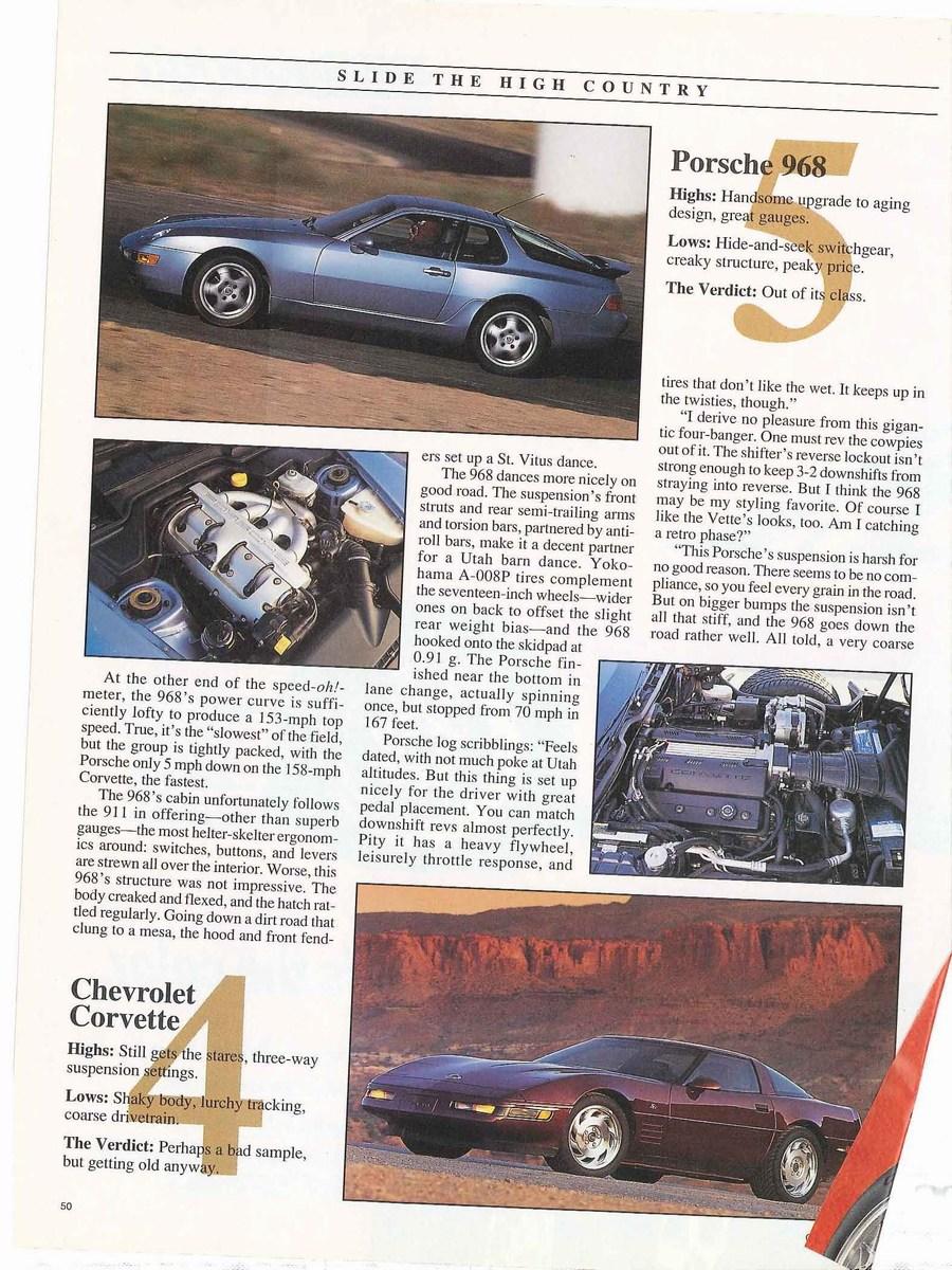Porsche 968 Vs Chevrolet Corvette Vs Mazda Rx7 Vs Nissan