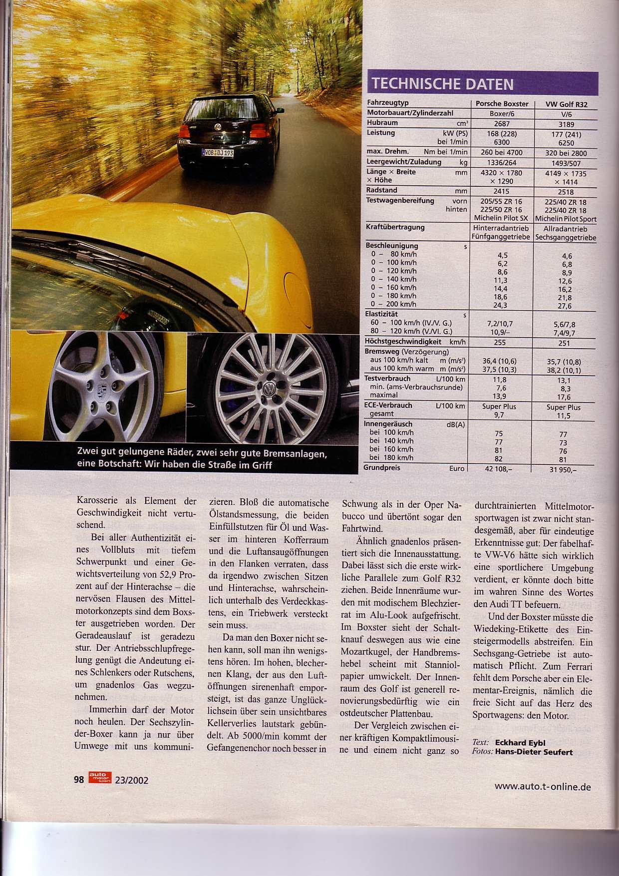 Porsche 986 Boxster S Vs Vw Golf R32 Auto Motor Und Sport