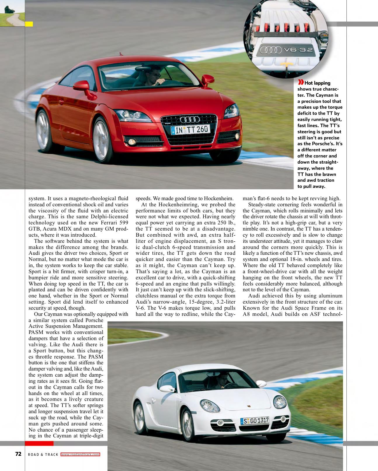 Porsche 987 Cayman Vs Audi TT 3.2 Quattro (Road & Track