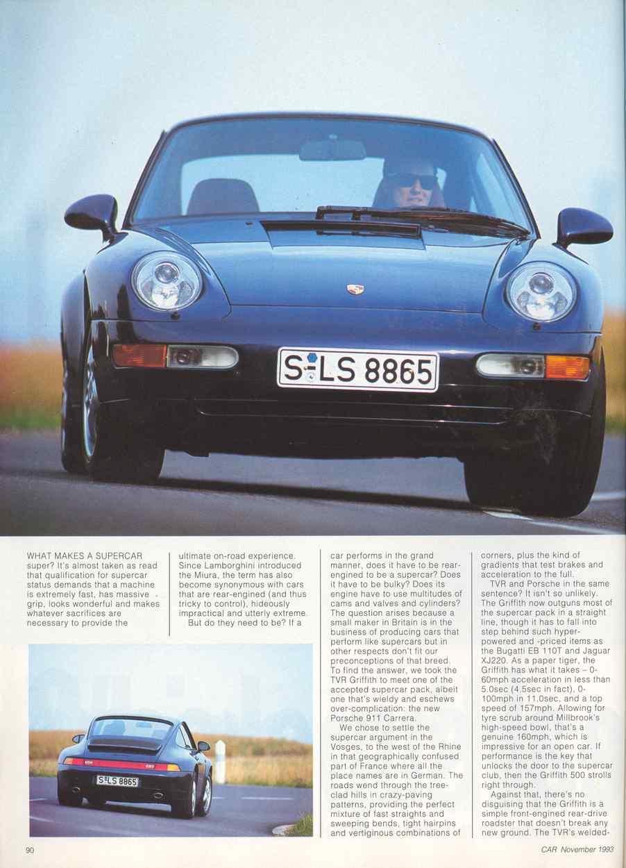 porsche 993 carrera vs tvr griffith 500 car mag 11 1993 porsche cars hi. Black Bedroom Furniture Sets. Home Design Ideas
