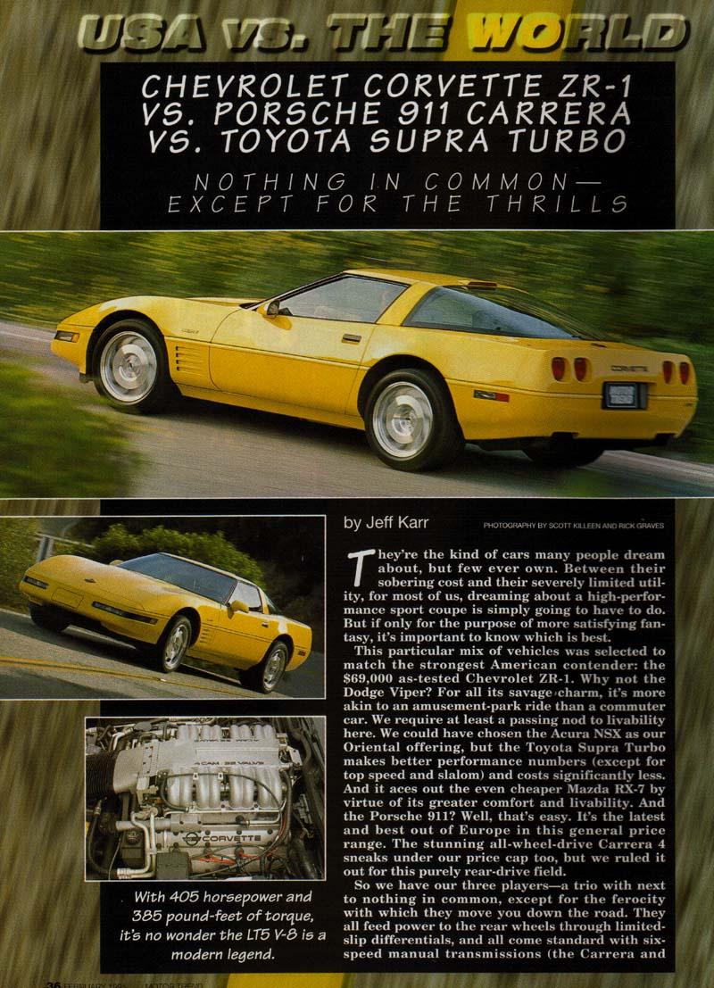 Porsche 993 Carrera Vs Chevrolet Corvette Zr1 Vs Toyota