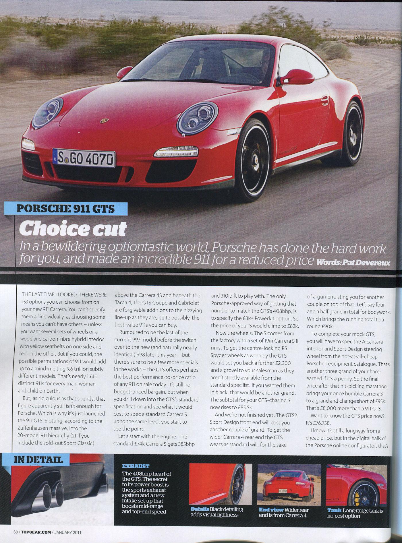 porsche 997 carrera gts top gear mag 01 2011 porsche cars history. Black Bedroom Furniture Sets. Home Design Ideas