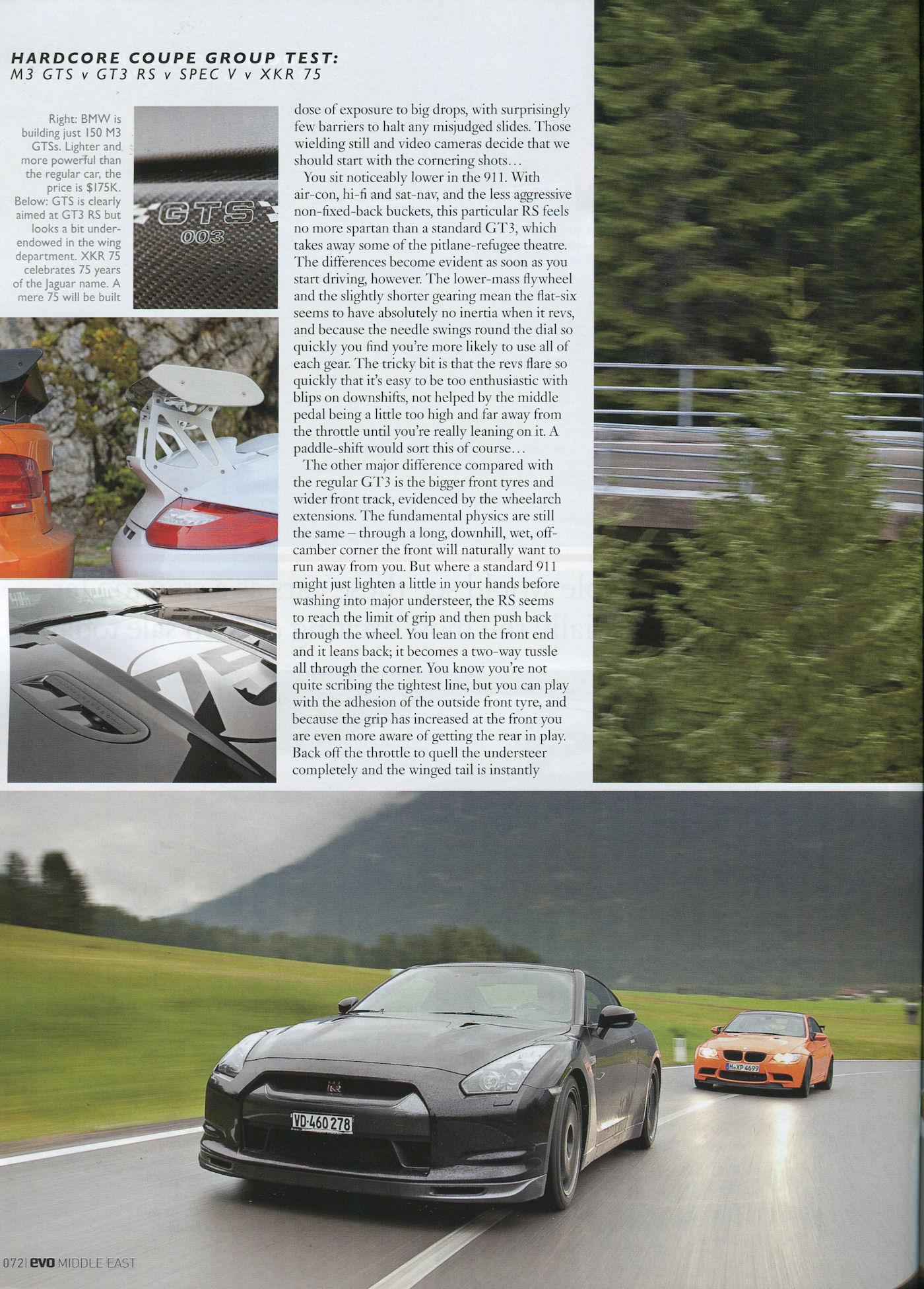 Porsche 997 GT3 RS Mk II vs Nissan GTR vs BMW M3 GTS vs ...