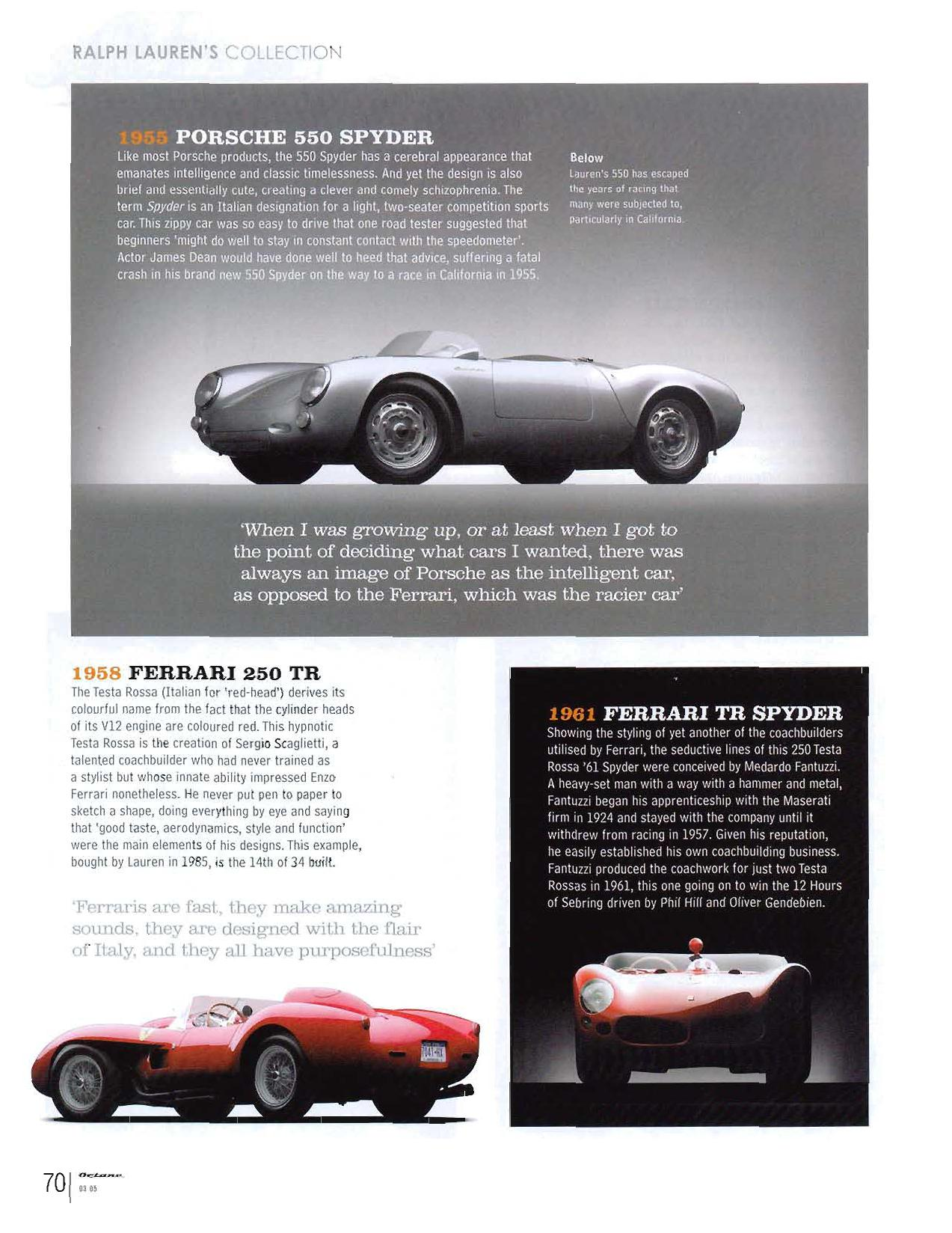 Ralph Laurens Rare Car collection at Ralphs Garage in