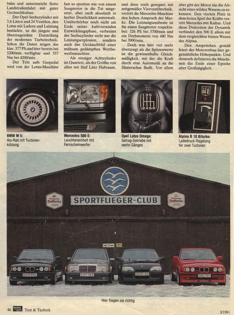 mercedes 500e vs opel lotus omega vs bmw m5 vs alpina b10 auto motor und sport mag 03 1991. Black Bedroom Furniture Sets. Home Design Ideas
