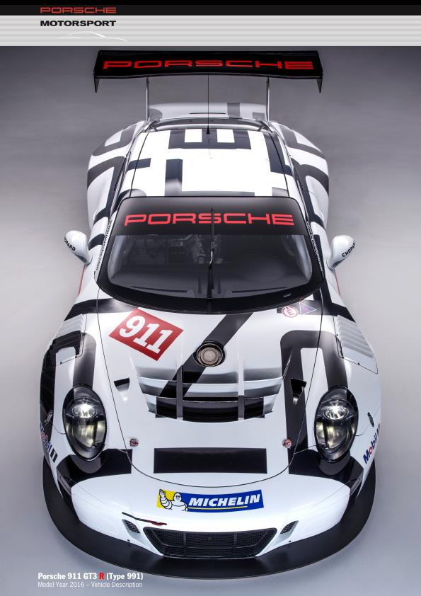 Рекламный буклет Porsche 991 GT3 R - Vehicle description