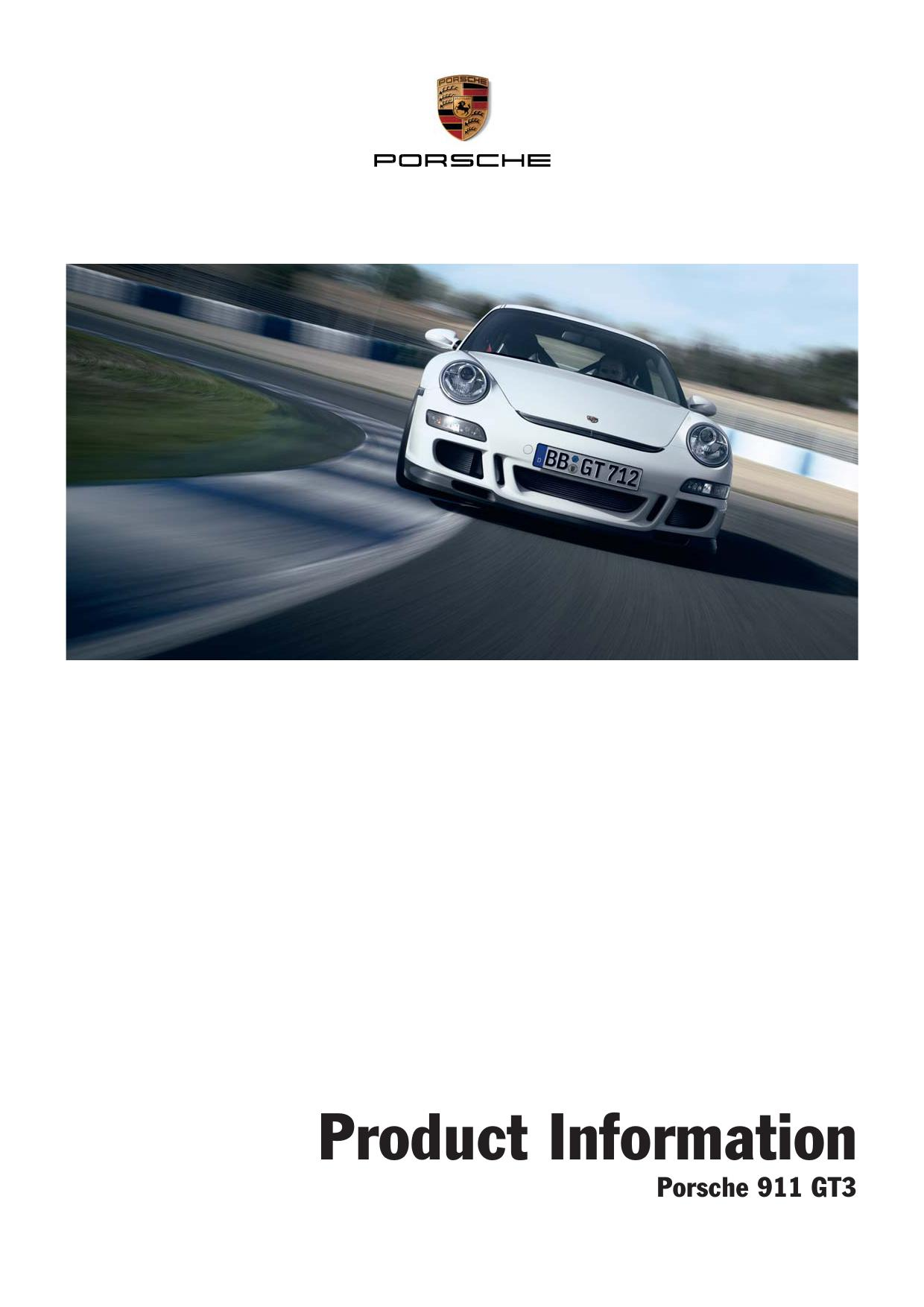 Рекламный буклет Porsche 997 GT3 Product Information 2006 MY