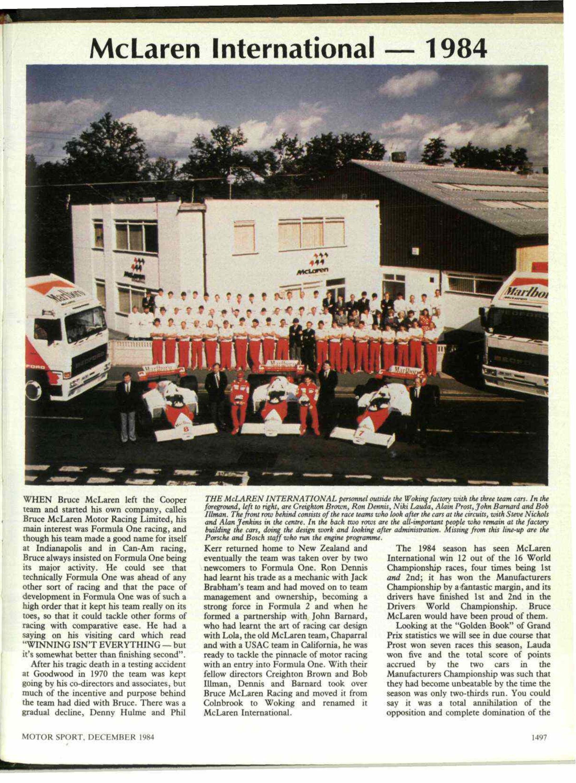 1984 Mclaren Mp 4 2 Tag Porsche Chassis №1 №3 Motor